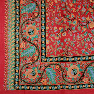 India Arts Handmade 100% Cotton Tree of Life Tapestry Tablecloth Bedspread Beach Sheet Dorm Decor Full 88x104 Red