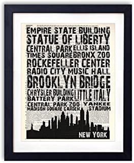 New York Landmarks Skyline and Typography Dictionary Art Print 8x10
