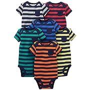 Simple Joys by Carter's Baby Boys' 6-Pack Short-Sleeve Bodysuit, Stripes, 3-6 Months