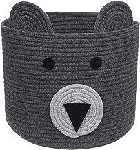 CherryNow Bear Basket, Cotton Rope Basket, Woven Laundry Hamper, Toy Storage Bin for Kids, Clothes in Bedroom, Baby Nurser...
