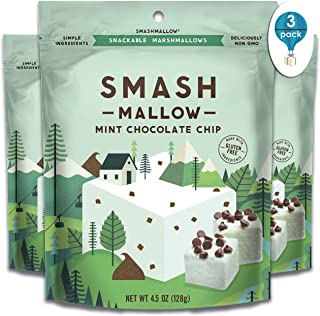 Mint Chocolate Chip by SMASHMALLOW | Snackable Marshmallows | Non-GMO | Organic Cane Sugar | 100 Calories | Pack of 3 (4.5 Ounces per Pack)