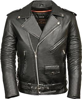 Leather King Chamarra de motociclista para hombre con encaje lateral clásico estilo policía, Negro, Mediano