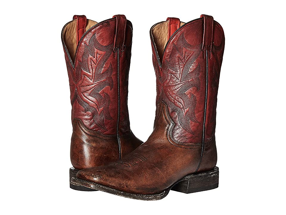Stetson 11 Double Welt Wide Square Toe (Antique Honey Cow Leather/Vintage Red) Cowboy Boots