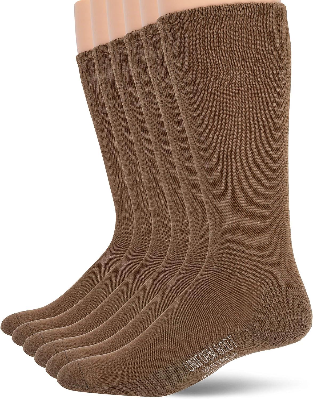 Jefferies Socks mens Military Rib Top Combat Crew Boot Socks 6 Pack
