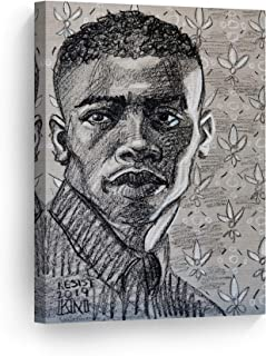 Smile Art Design Angularity by Kenney Mencher, African American Man Portrait Sketch Canvas Print Living Room Decor Wall Art Bedroom Home Decor Artwork Ready to Hang Made in USA - 17x11