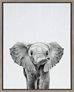 Kate and Laurel Sylvie Black and White Baby Elephant Framed Canvas Wall Art by Simon Te Tai, 18x24 Gray, Cute Animal Home Decor for Living Room, Bedroom, Bathroom, Or Nursery