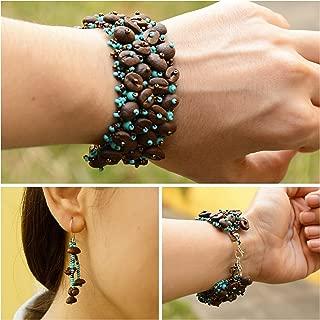 Guatemalan Coffee Bean Bracelet Earrings Set, Handmade Fashion Jewelry Gift - Kapeej-Turquesa