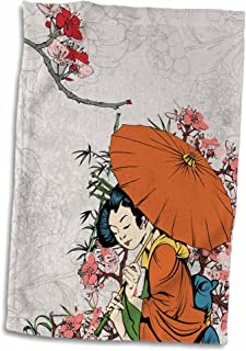 3D Rose Lovely Japanese Geisha with Umbrella and Sakura Cherry Blossom Flowers Illustration Hand/Sports Towel, 15 x 22