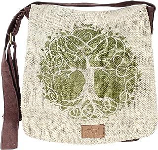 Natural Hemp-Cotton Eco Mandala hippie boho Cross body Messenger Bag sling bag-Brown