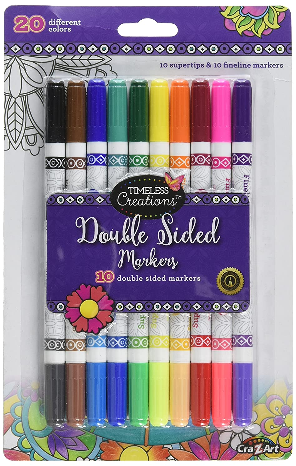 Cra-Z-Art Timeless Creations Adult Coloring, 10ct Double Ended Markers (10188PDQ-48)