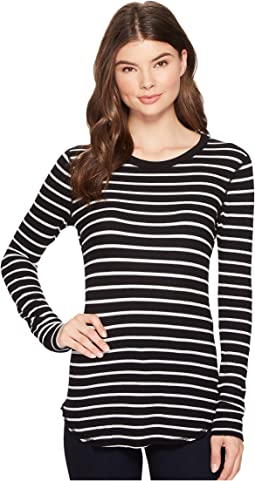 Three Dots - Stripe Long Sleeve Crew Neck Tee