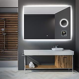 Artforma 120 x 80 cm Espejo de Baño con Iluminación LED - Luz Espejo de Pared con Accesorios - Interruptor táctil + Estaci...