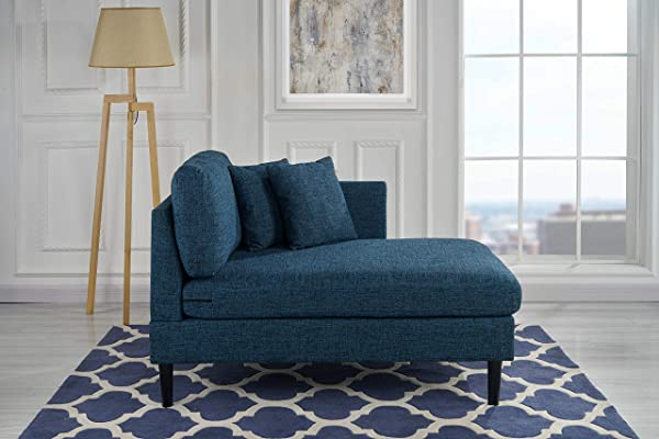 Chaise Lounge Indoor Chair Stitched Linen Fabric With 2 Accent Pillows Modern Mid Century Plush Chaise Lounger For Office Living Room Or Small Space Home Furniture Navy Blue