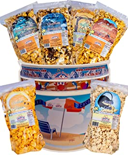 Popcorn by Colorado Kernels Popcorn Delights | 3.5 Gal SUMMER BEACH FUN Bucket with 6 lg resealable bags | Kettle Corn, Cheddar Cheese, Caramel, Chocolate, Almonds/Pecans, Buffalo Ranch