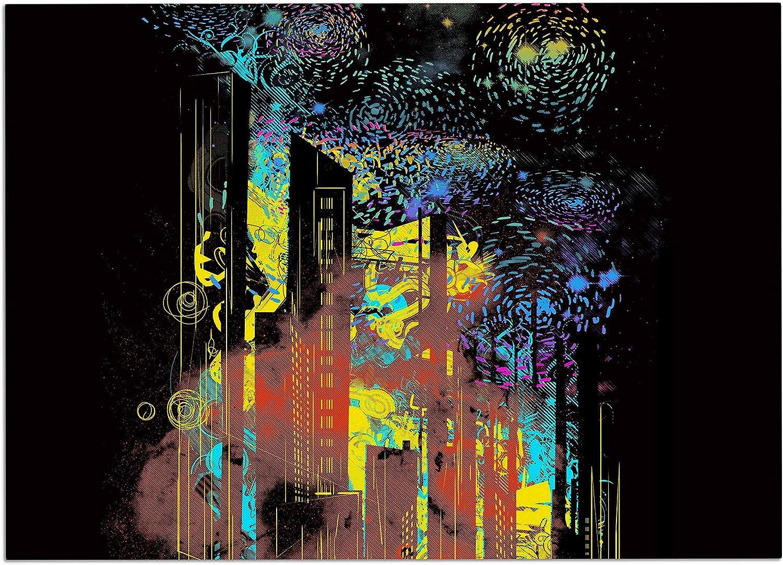 KESS InHouse FH1045ADM02 Federic LevyHadida Starry City Lights Black Rainbow Dog Place Mat, 24  x 15