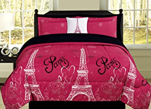 HowPlumb Queen Paris Comforter Pink Black White Eiffel Tower Bedding and Sheet 8 Piece Bed in a Bag Set