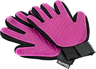 Bastex Pet Grooming Gloves in Pink. Gentle Deshedding Brush Glove. Great for Cats and Dogs with Long and Short Fur. Tool for Removing pet Hair Off Furniture and Rubber Tips for Massage.