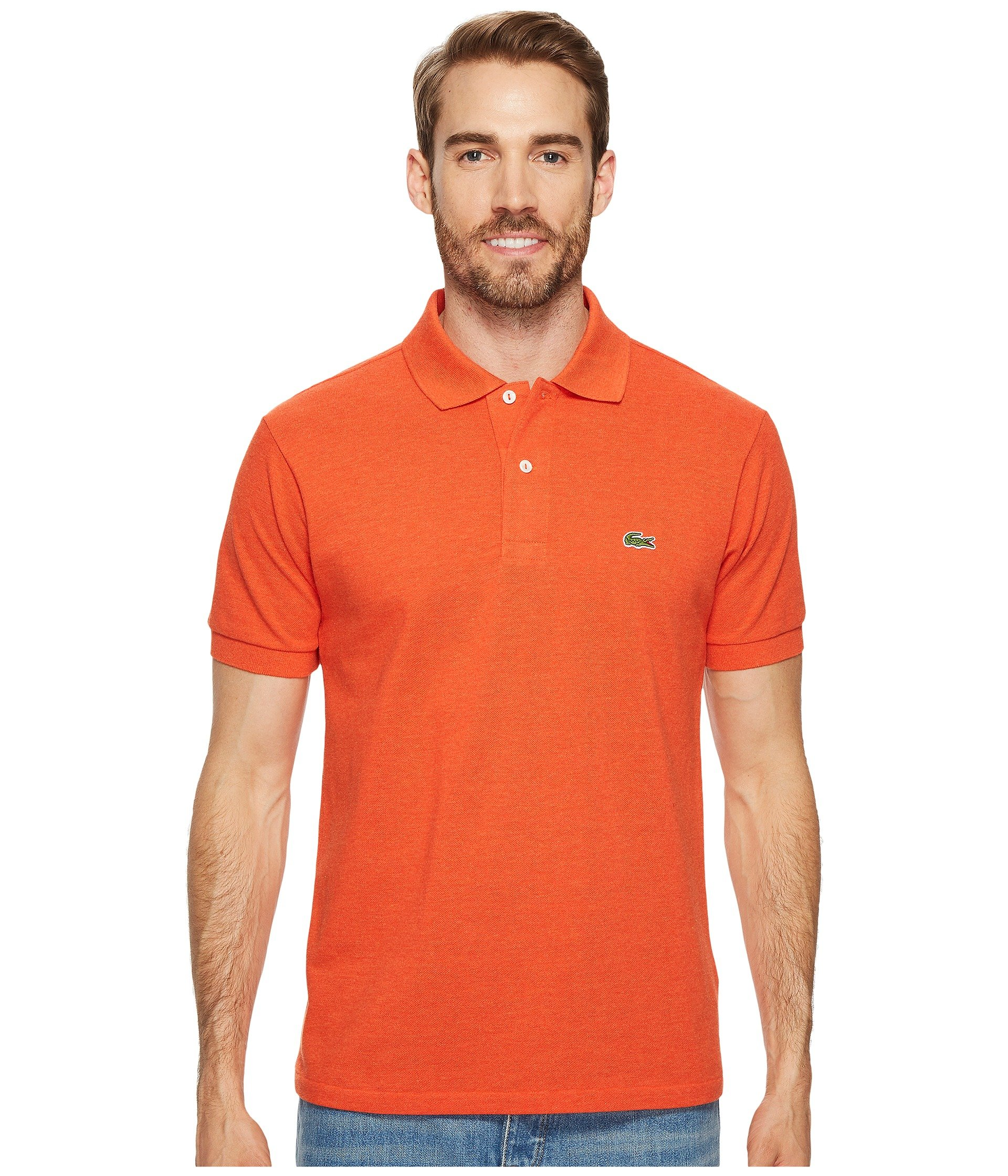 031485c1a Lacoste Short Sleeve Classic Fit Chine Pique Polo Shirt In Cornaline Chine