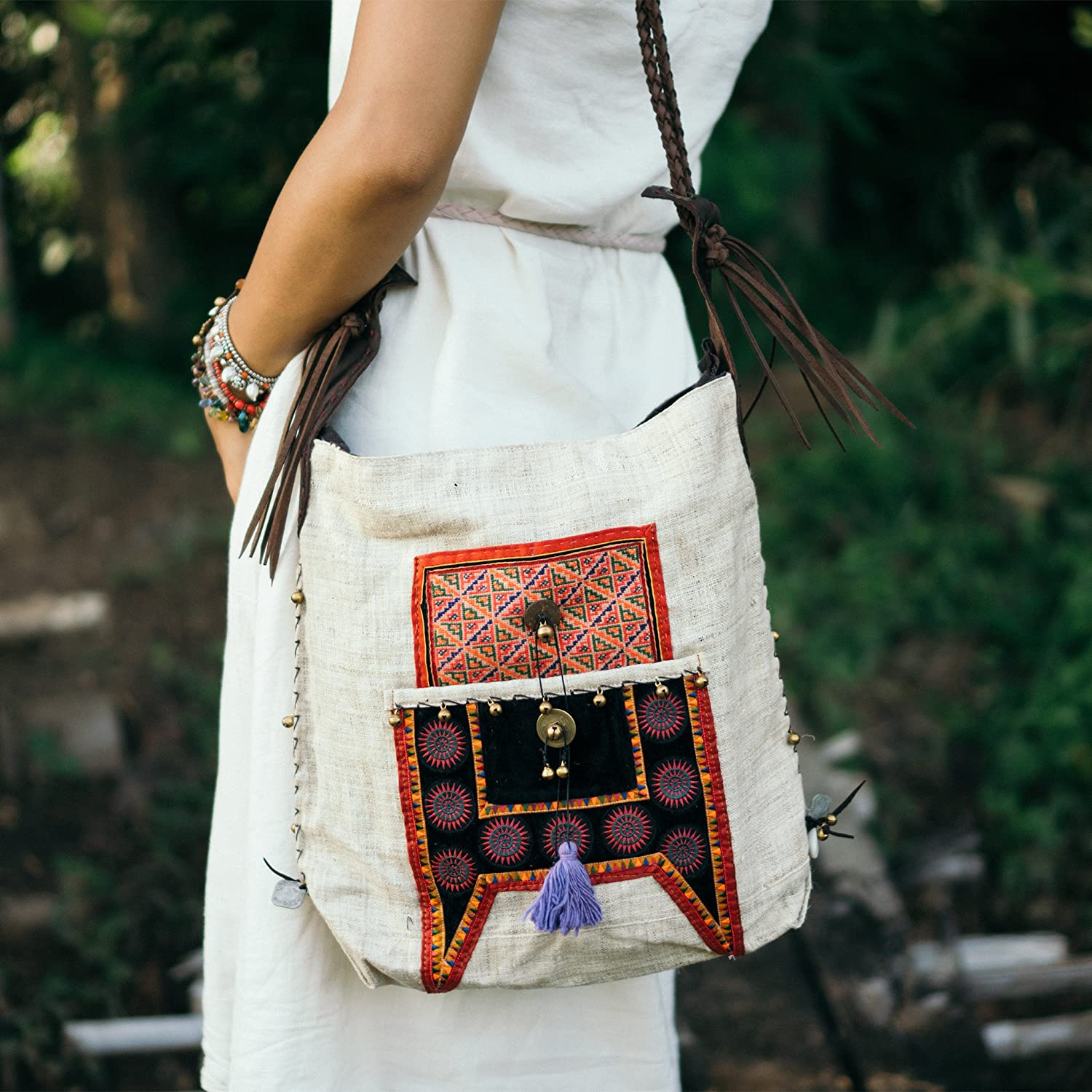 Changnoi Handcrafted Hippie Outlet SALE Crossbody Bag with service Hmong Tribe Hill