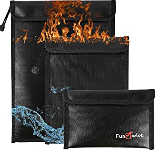 Fireproof Waterproof Money Document Bag - 3 Pack Safe Upgraded Zipper Bags, Fire & Water Resistant Storage Organizer Pouch...