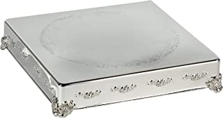 "Elegance 18"" Square Cake Plateau - 18"" Silver Plated Square Cake Plateau with Design"