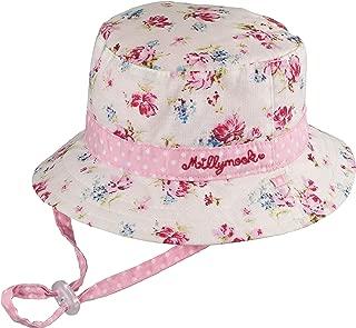 Girls Reversible Cotton Sun Hat Vintage Bucket -Pink, UPF50+