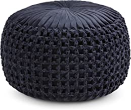 Simpli Home AXCPF-24 Renee Transitional Round Pouf in Navy Velvet