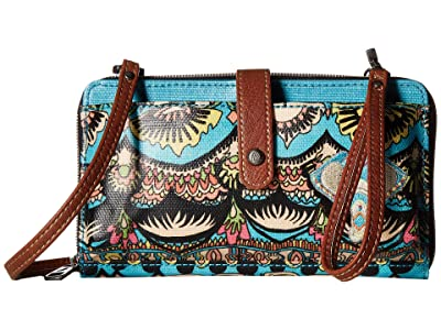 Sakroots Artist Circle Large Smartphone Crossbody (Aqua One World) Clutch Handbags