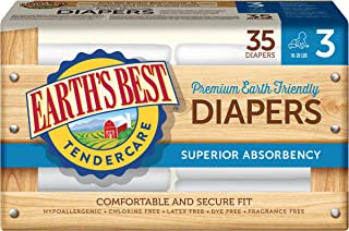 Earth`s Best TenderCare Chlorine-Free Disposable Baby Diapers, Size 3 (16-28 lbs), 35 Count (Pack of 4)