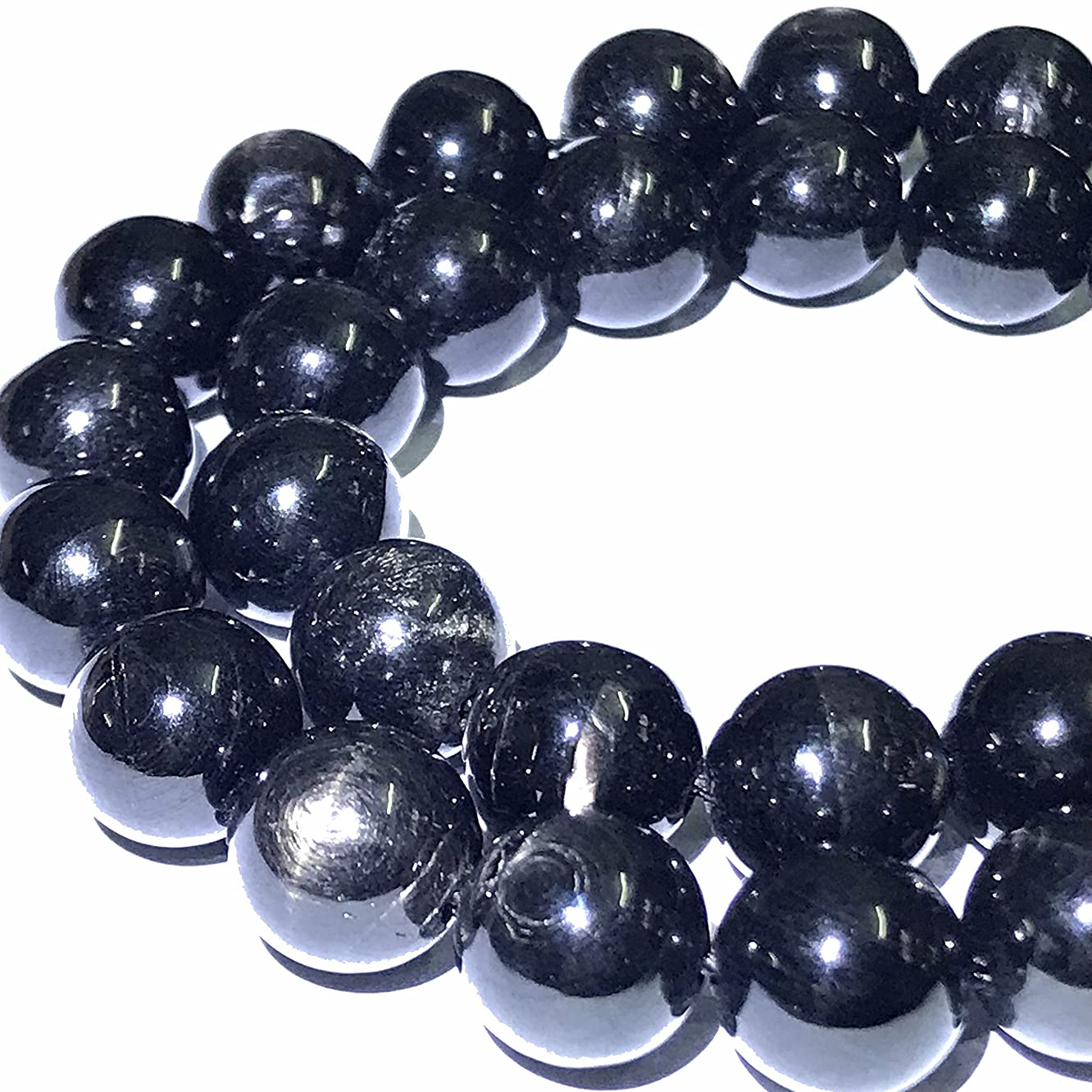 [ABCgems] Extremely Rare Canadian Rainbow Hypersthene (Piano Black- Exquisite Flash) 12mm Smooth Round Beads for Beading & Jewelry Making