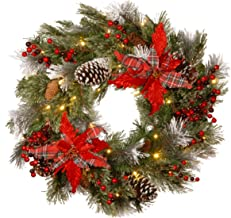 National Tree 24 Inch Decorative Collection Tartan Plaid Wreath with Cones, Red Berries, Poinsettias and 50 Battery Operated Soft White LED Lights with Timer (DC13-147-24WB-1)