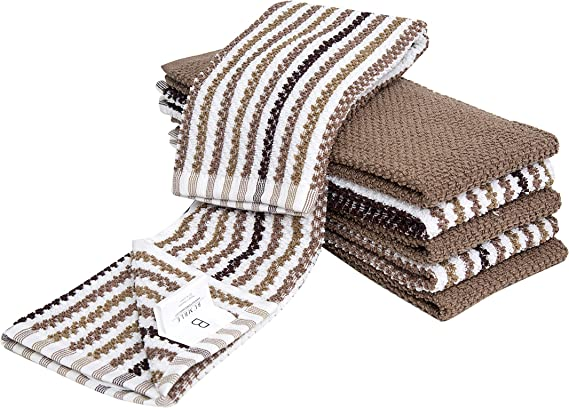 "6 Pack Large Popcorn Striped and Solid Kitchen Towel Set / 16"" x 26""/ Thick"