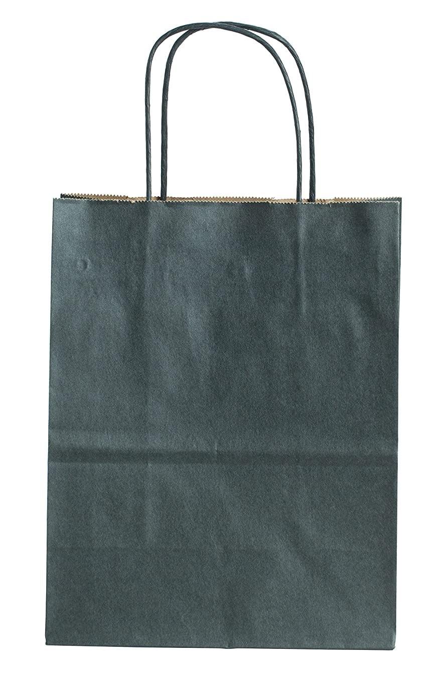 Premier Packaging AMZ-280103 Colors on Kraft Shopping Bag, 8.25 by 4.75 by 10.5-Inch, 15 Count - Black