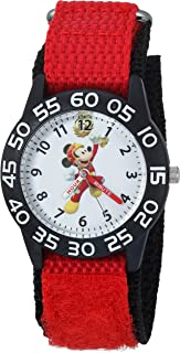 Disney Boys Mickey Mouse Analog-Quartz Watch with Nylon Strap, red, 15 (Model: WDS000214)