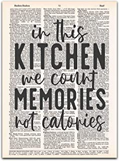In This Kitchen We Count Memories Not Calories, Vintage Kitchen Wall Art, Dictionary Page Print,