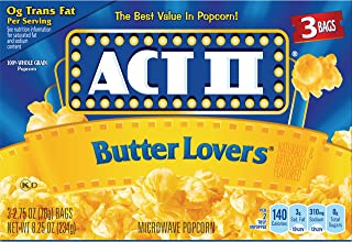 ACT II Butter Lovers Microwave Popcorn, 3-Count 2.75-oz. Bags