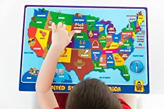 UNCLE WU United State Map Educational Kids Placemat - Waterproof Toddler Placemat