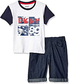 DKNY Boys Sleeve Printed T-Shirt and Pull-on Denim Short