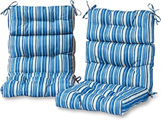 Greendale Home Fashions Outdoor High Back Chair Cushion in Coastal Stripe (set of 2), Sapphire