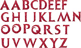 SEC Apparel Iron-On Frozen Letters,2 Inch - Black, Blue, Gray, Green, Orange, Pink, Gold, Red, Yellow, Silver, Glitter Gold, Glitter Red (Glitter Red)