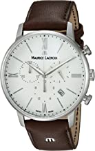 Maurice Lacroix Men's Eliros Stainless Steel Swiss-Quartz Watch with Leather Calfskin Strap, Brown, 20 (Model: EL1098-SS001-112-1)