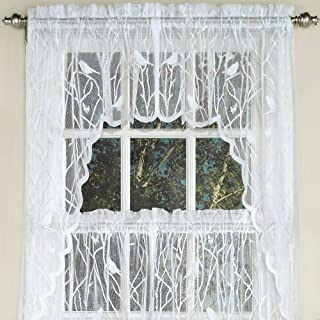 Sweet Home Collection Kitchen Window Tier, Swag, or Valance Curtain Treatment in Stylish and Unique Patterns and Designs for All Home Décor, Songbird White