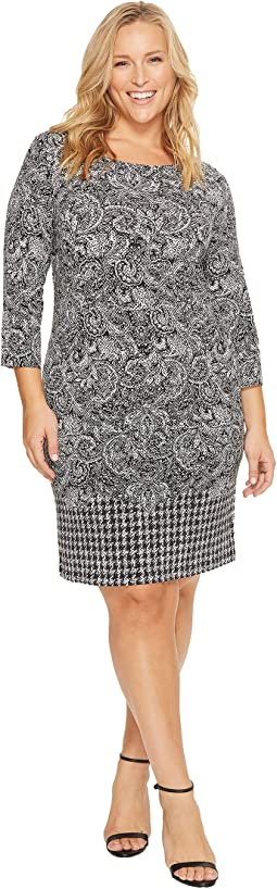 MICHAEL Michael Kors - Plus Size Paisley Houndstooth Border Dress