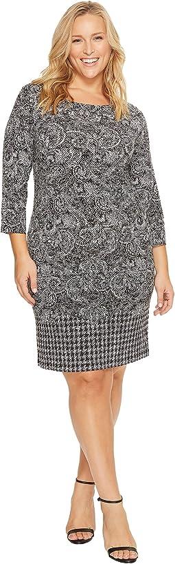 MICHAEL Michael Kors - Plus Size Paisley Houndstooth Border Dress