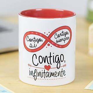 La mente es Maravillosa - Taza con Frase de Amor y Dibujo romántico (Cntigo si, cntigo Siempre, cntigo infinitamente) Rega...