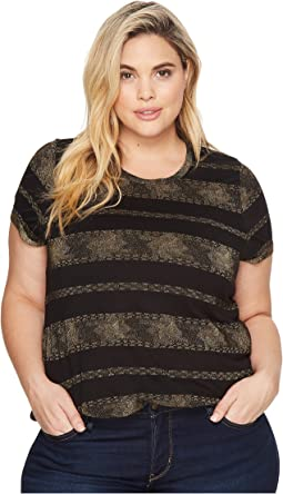 Lucky Brand - Plus Size Metallic Stripe Tee