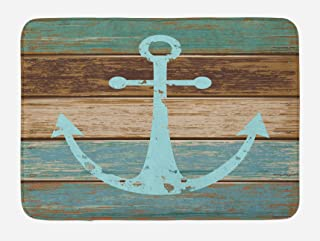 Ambesonne Anchor Bath Mat, Timeworn Marine on Weathered Wooden Planks Rustic Nautical Theme, Plush Bathroom Decor Mat with Non Slip Backing, 29.5