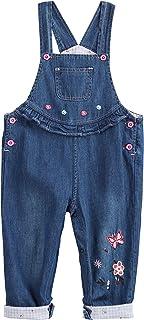 Camilife Baby Mädchen Jeans Latzhose Strampler Overall Weiche Baumwolle Denim Hose Dünn für Frühling Sommer Cartoon Pink Häschen Größe 56/62/68/74/80/86