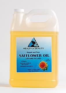 Safflower Oil Organic Carrier High Oleic Cold Pressed Premium 100% Pure 128 oz, 7 LB, 1 gal