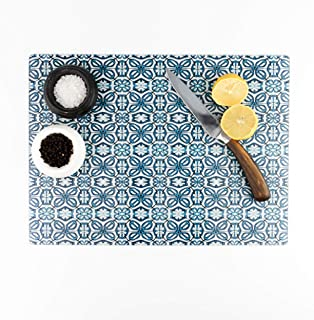 Extra-Large Worktop Protector. Blue Flower Moroccan Design.